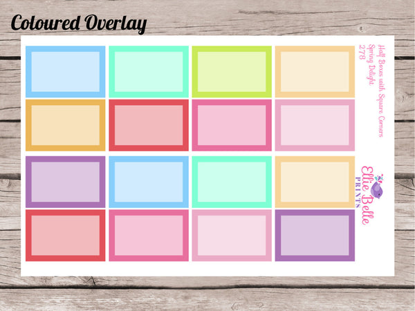 Half Box Stickers with Square Corners - Spring Delights - [279]