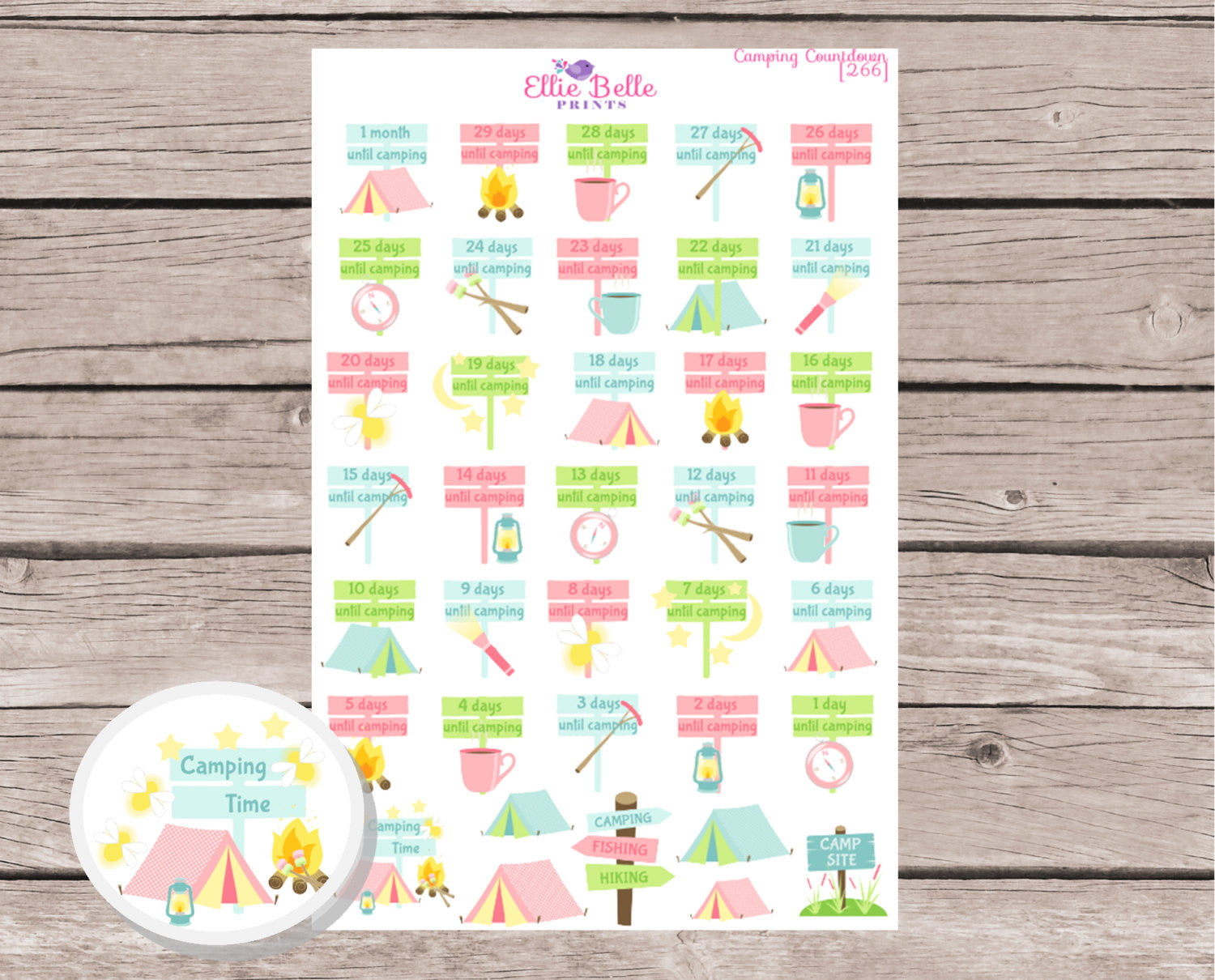 Camping Countdown Decorative Stickers [266]