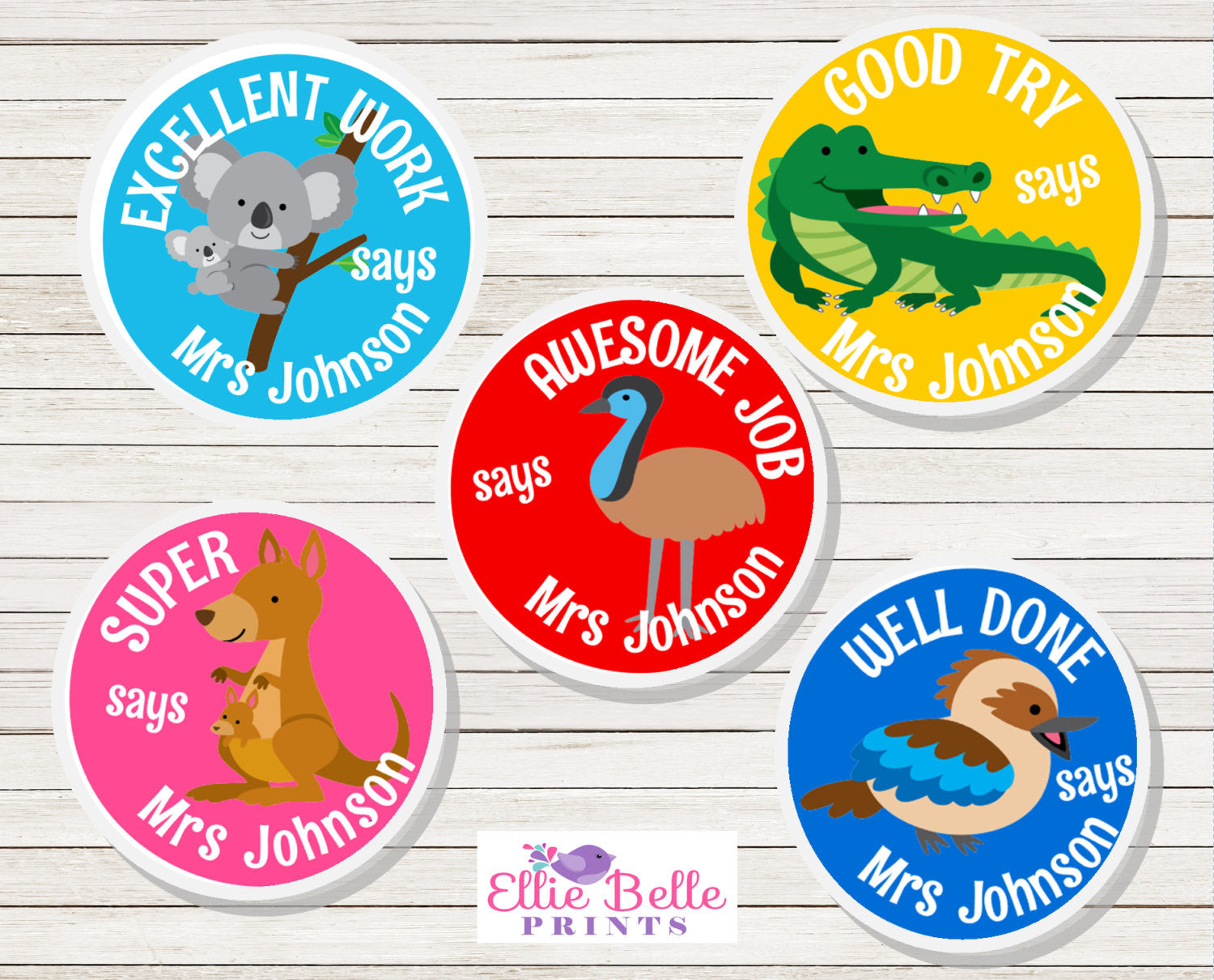 Australian animals personalised teacher reward stickers
