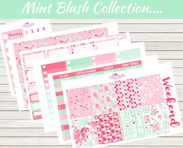 MINT BLUSH COLLECTION - Vertical Weekly Planner Kit [334]