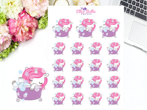 Bath Time Sticker - Pink Unicorn Collection