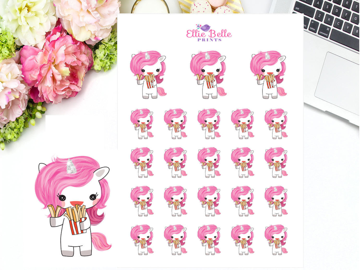 Fast Food Stickers - Pink Unicorn Collection