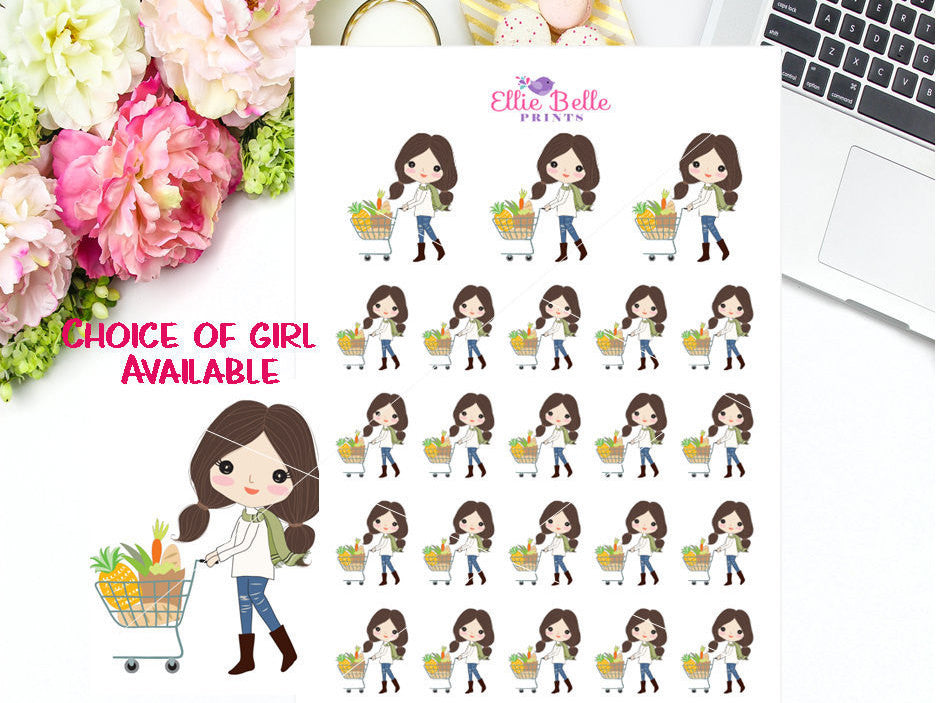 Grocery Shopping Stickers - Girl Collection 3