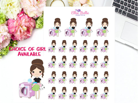 Washing / Laundry Stickers  - Girl Collection 3