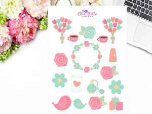 Pink & Aqua Mothers Day Decorative Stickers