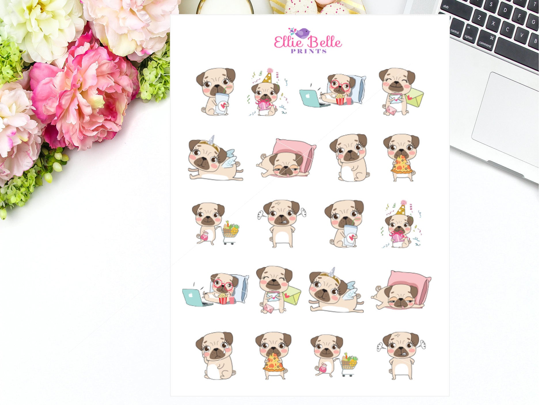 Pug Character Stickers - Pug Collection