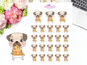 Pizza Stickers - Pug Collection
