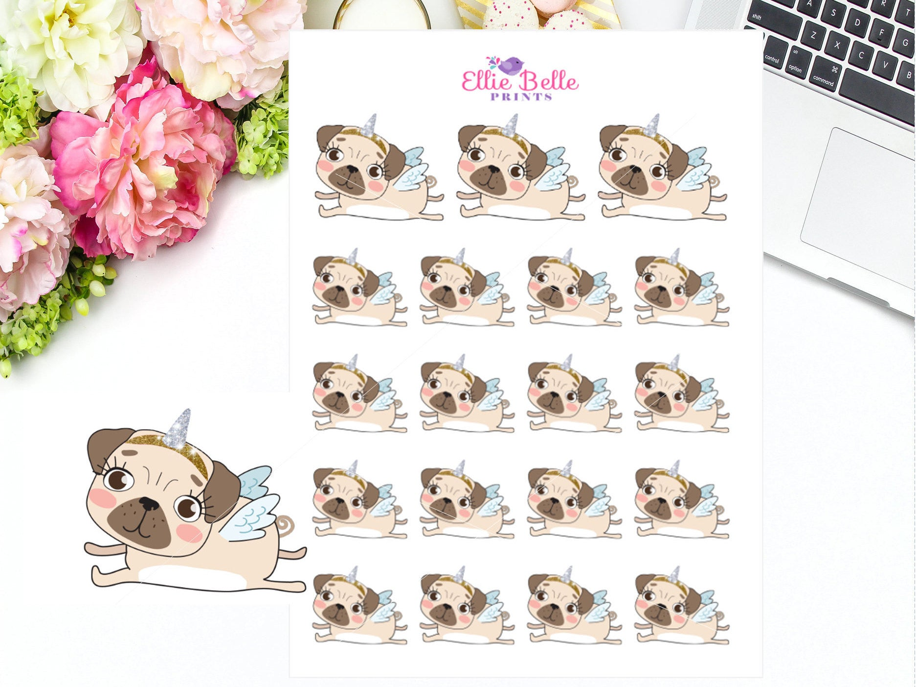 Unicorn Stickers - Pug Collection