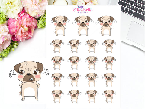 Angry / Mad Pug Stickers - Pug Collection
