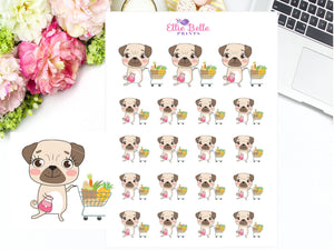 Grocery Shopping Sticker - Pug Collection