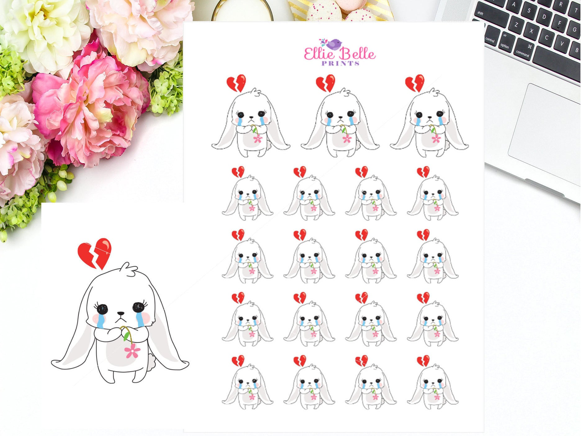 Sad / Upset Sticker - Bunny Rabbit Collection