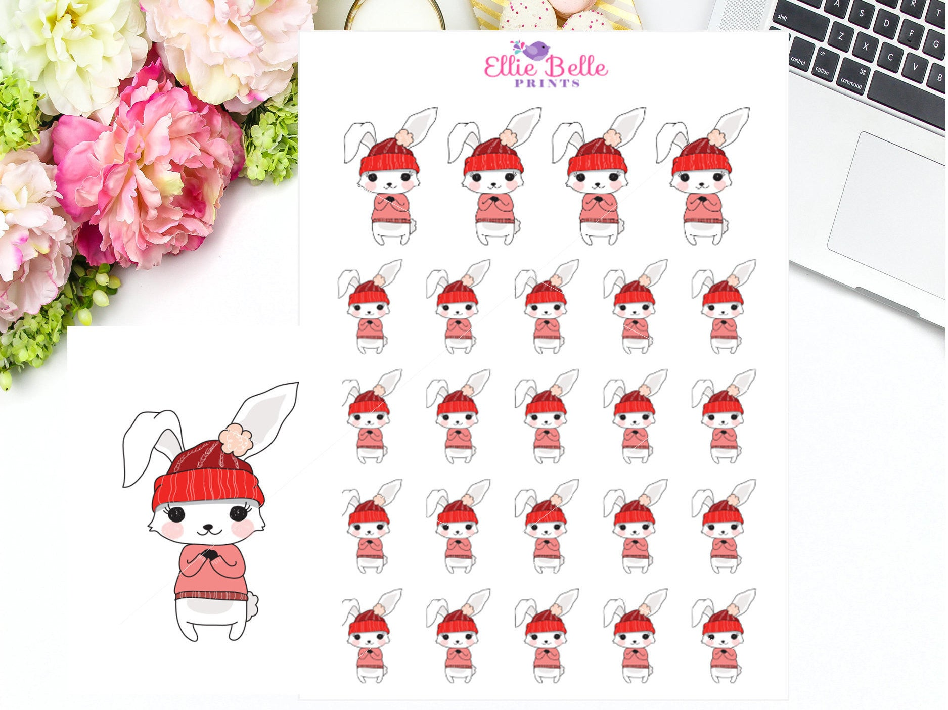 WINTER / COLD - BUNNY Rabbit Stickers