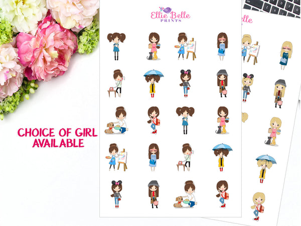 Girl Character Stickers - Girl Sampler 5