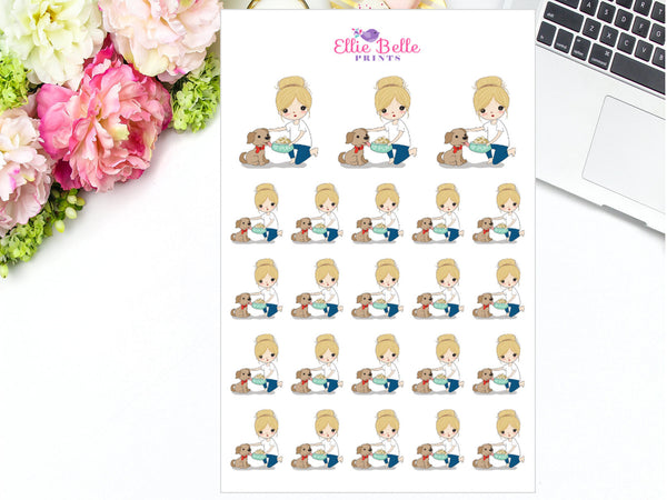 Feeding the Dog Stickers - Girl Collection 5