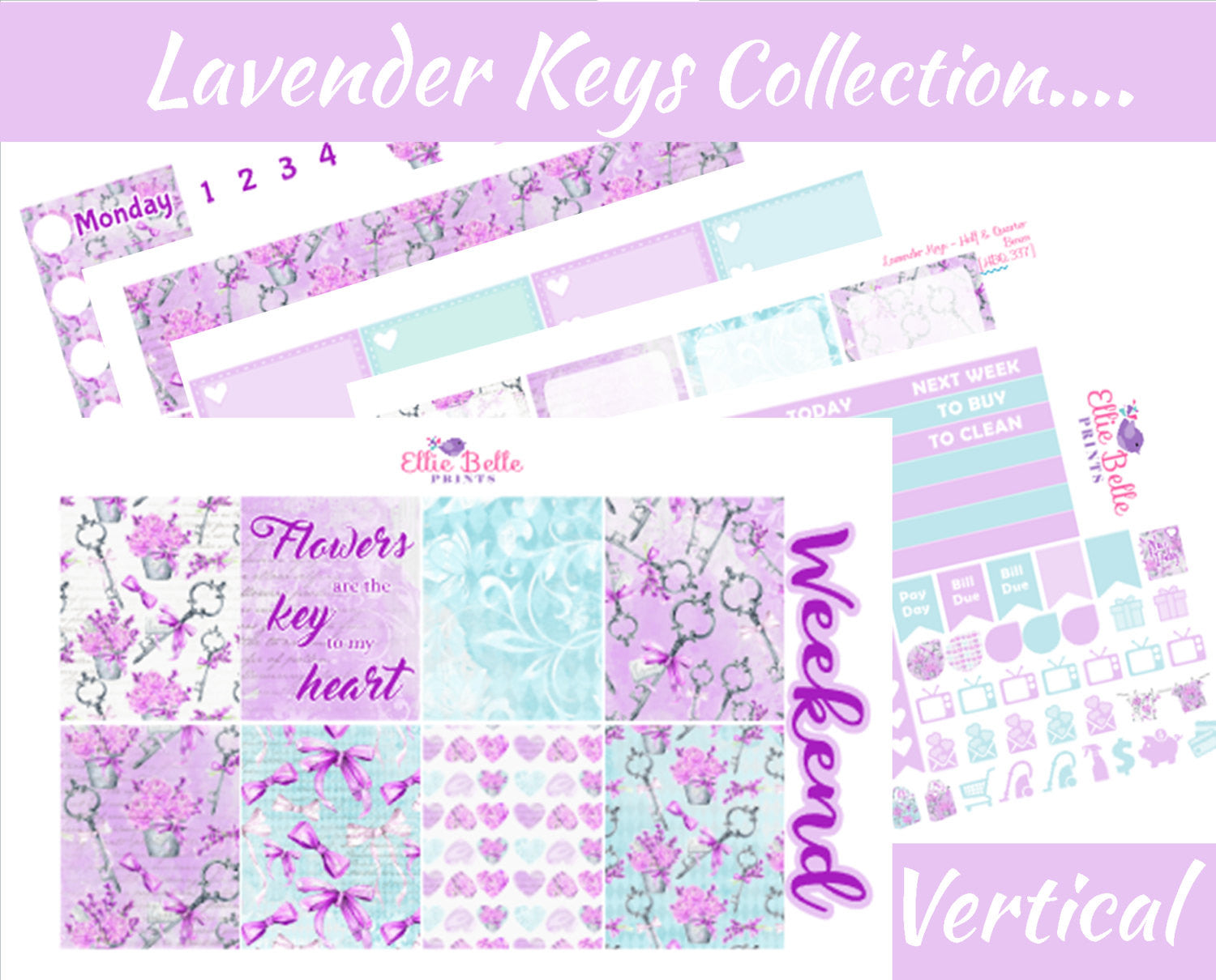 LAVENDER KEYS COLLECTION - Vertical Weekly Planner Kit [337]