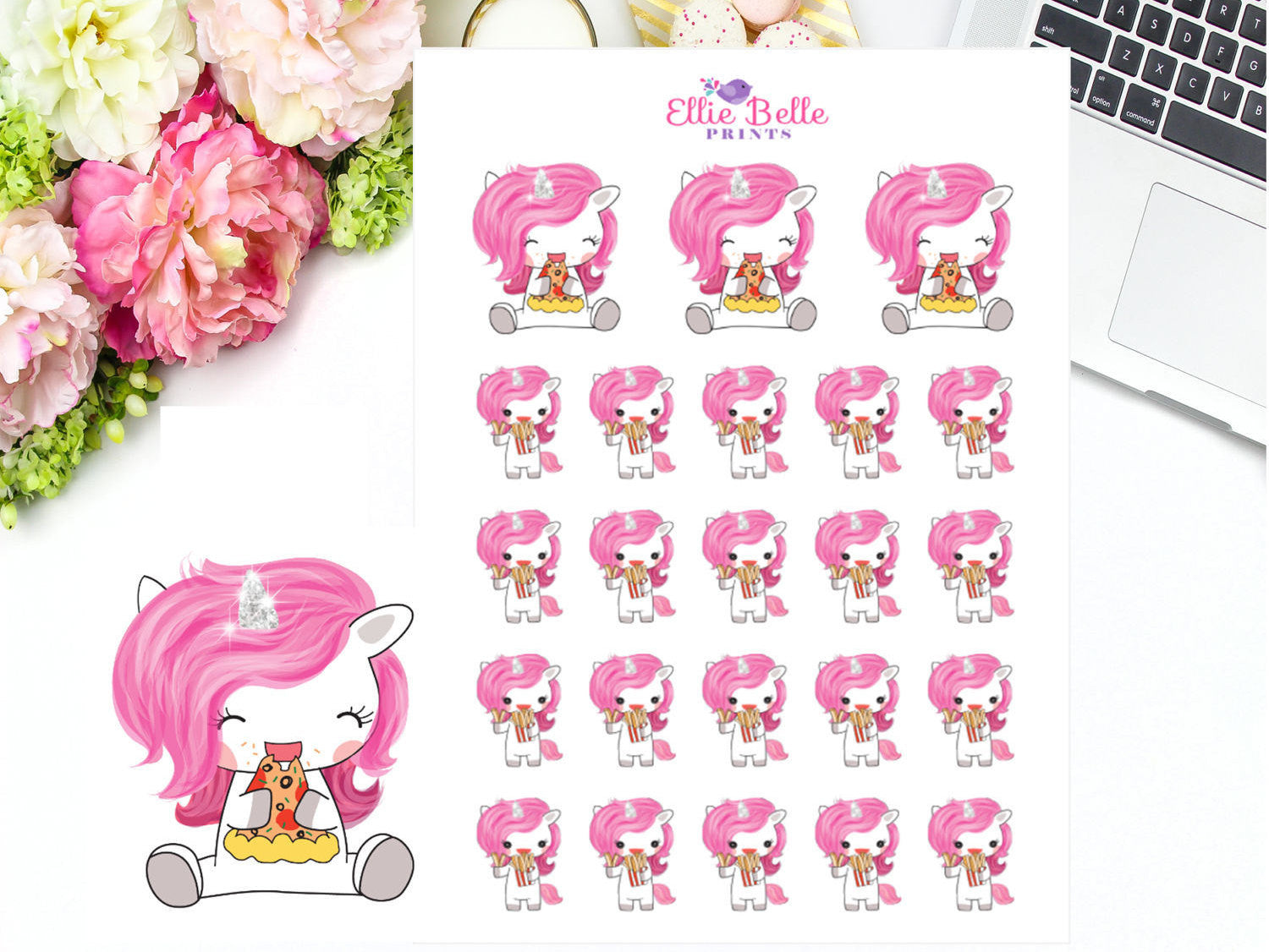 Pizza Stickers - Pink Unicorn Collection