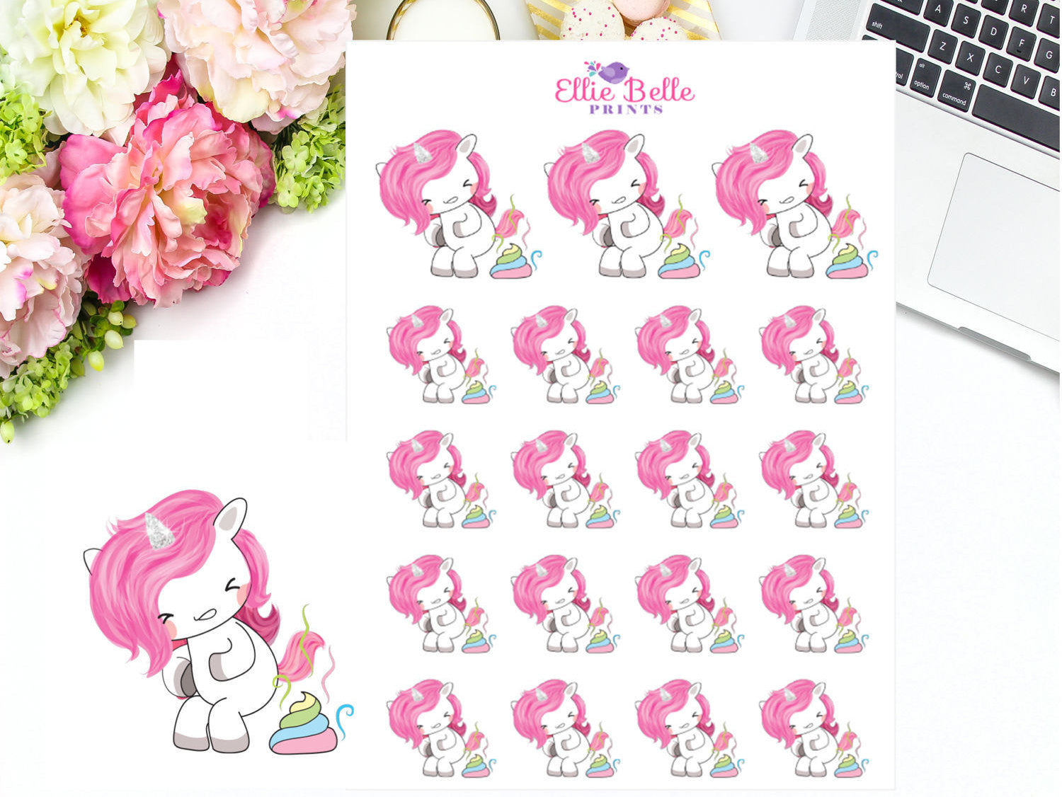 Poo Stickers - Pink Unicorn Collection