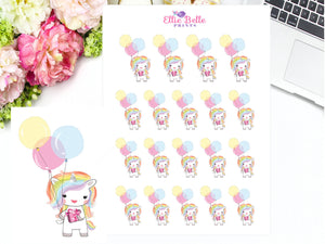Birthday Unicorn Stickers - Rainbow Unicorn Collection
