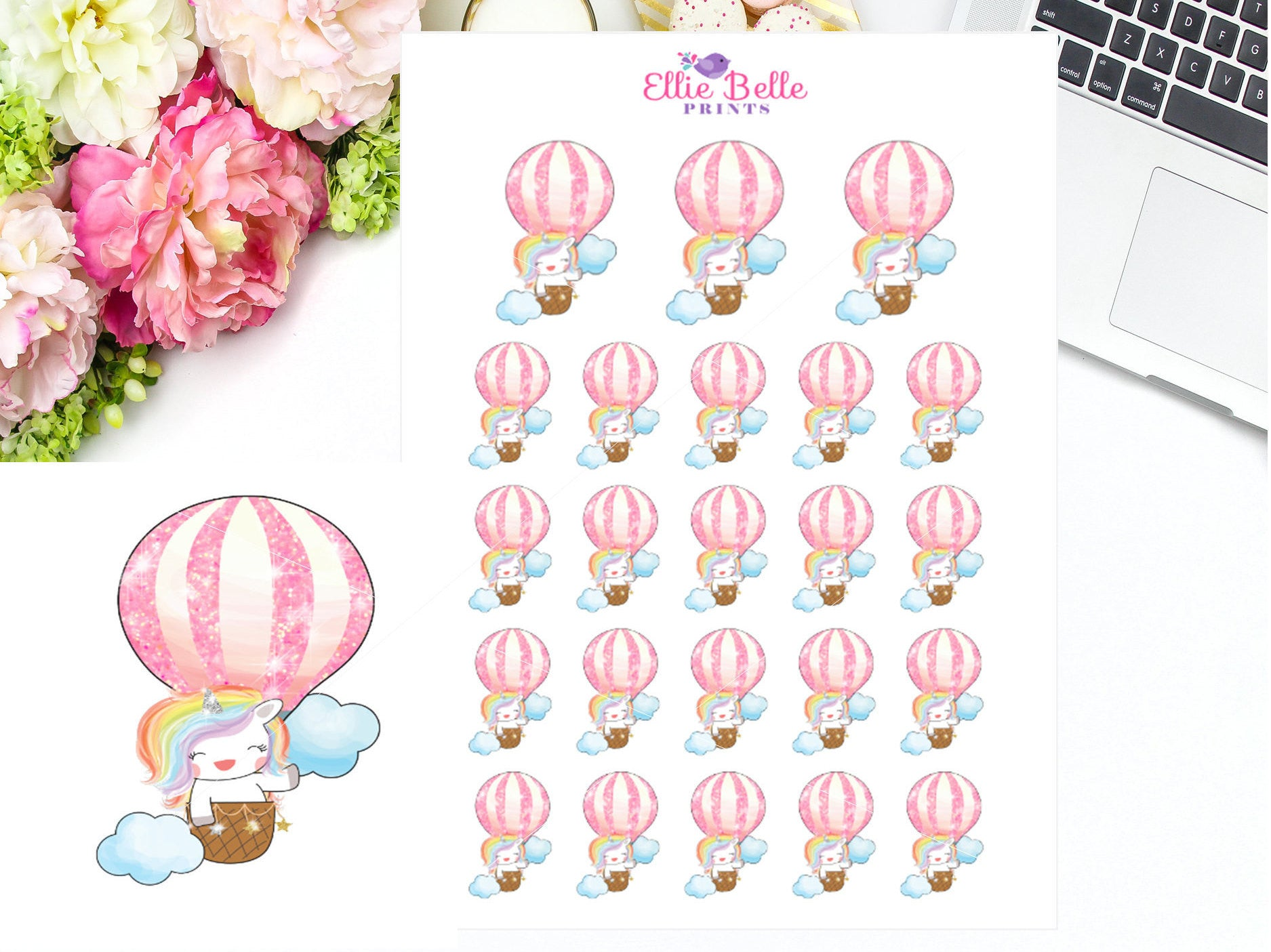 Hot Air Balloon Stickers - Rainbow Unicorn Collection