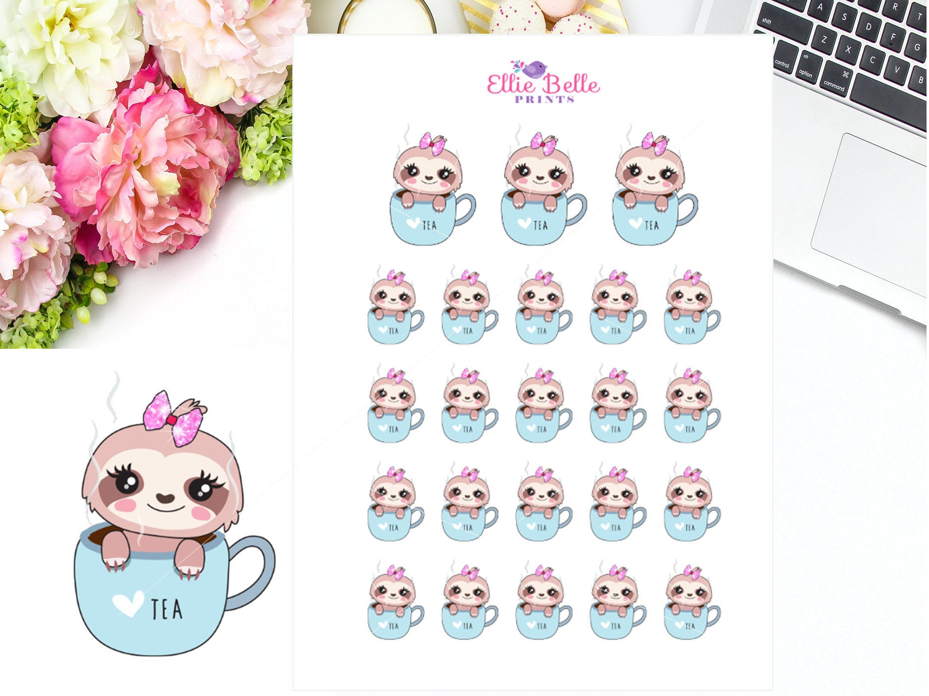 Tea Cup Stickers - Sloth 1 Collection