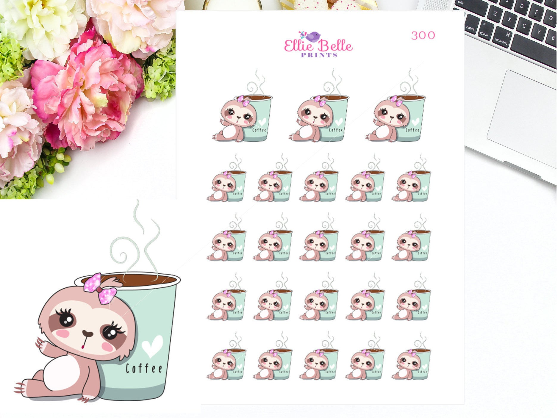 Coffee Sloth Stickers - Sloth Collection 1