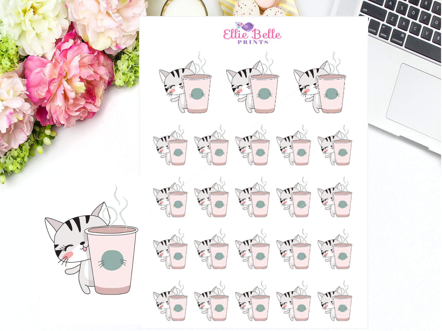 Coffee, Tea Cat Stickers - Cat Collection