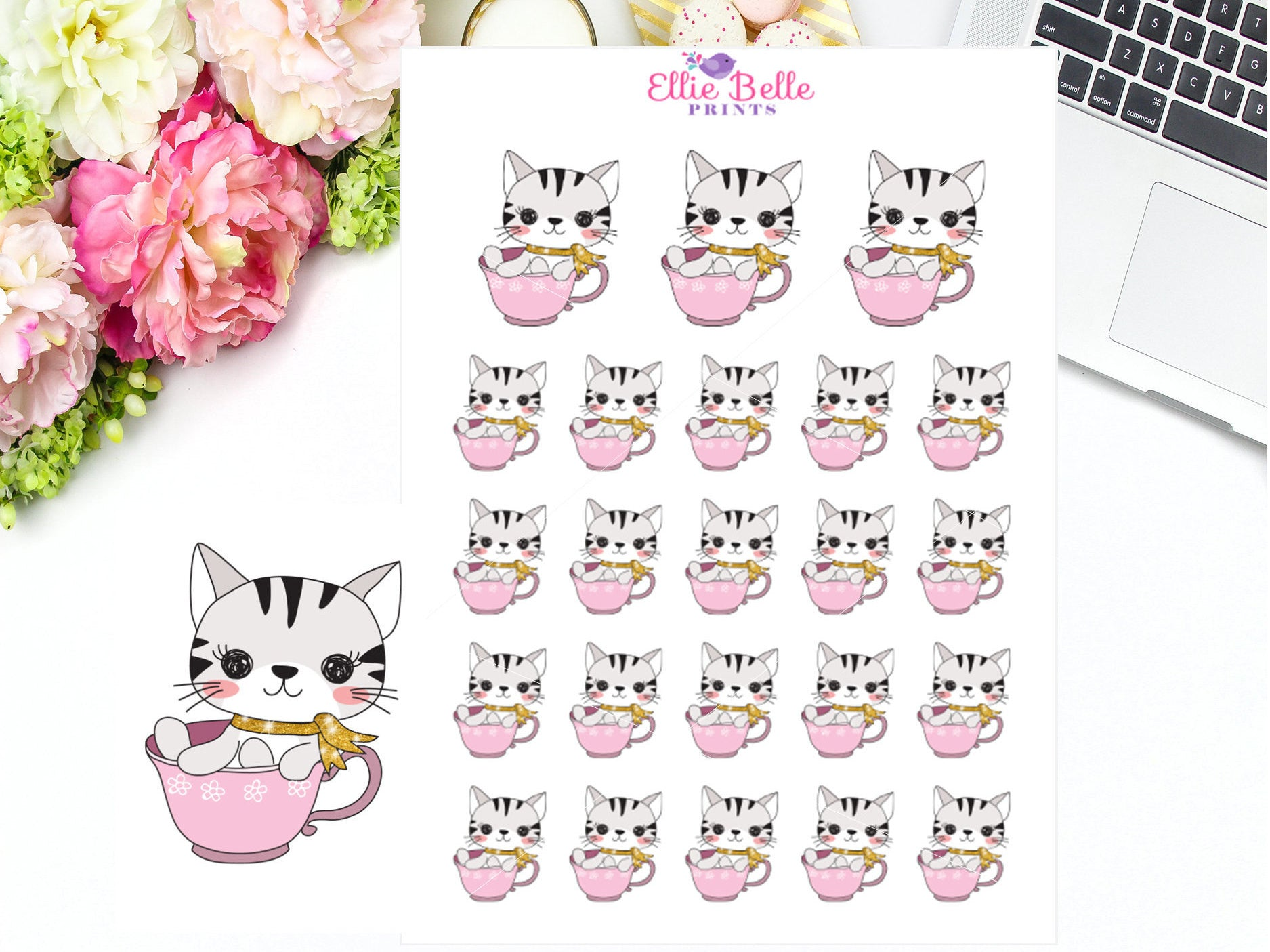 Tea Cup Stickers - Cat Collection