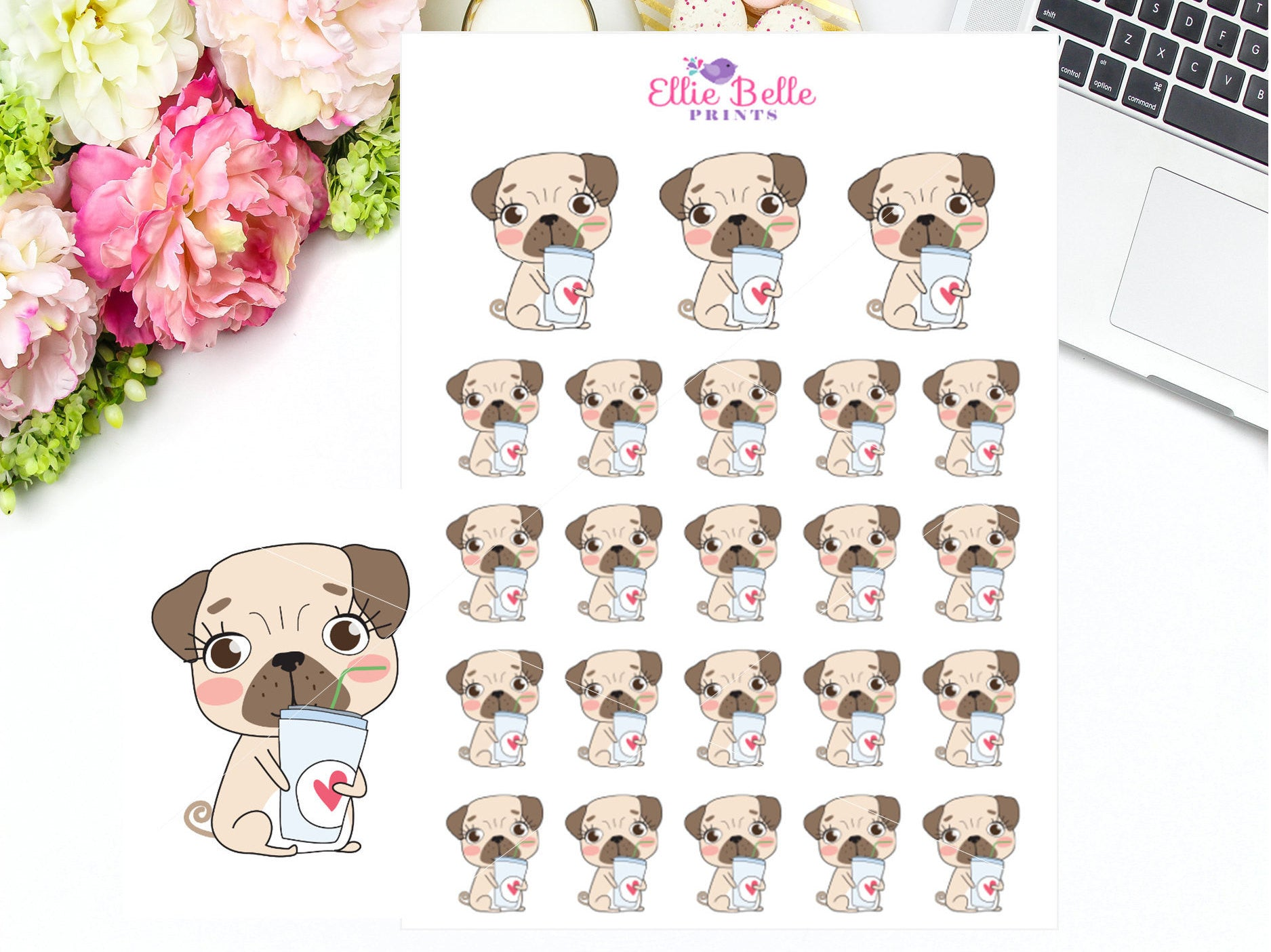 Drinking Sticker - Pug Collection