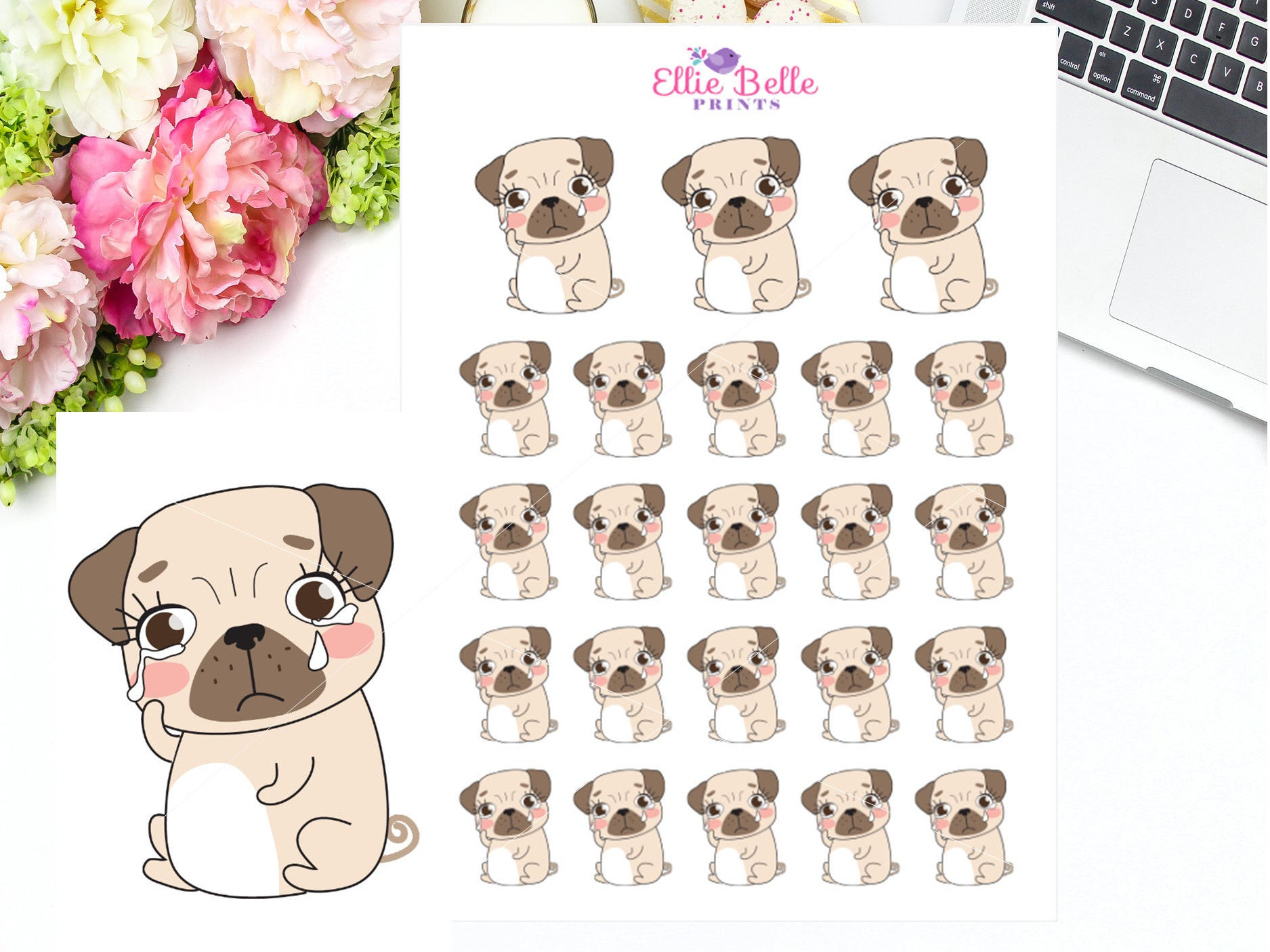 Sad / Upset Stickers - Pug Collection