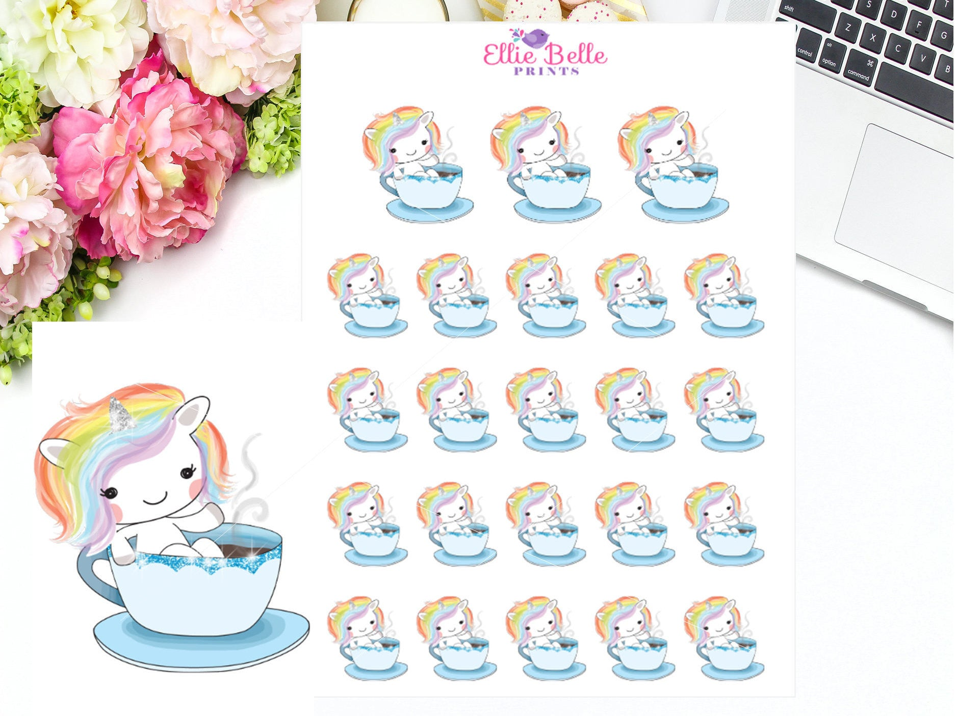 Tea Cup Stickers - Rainbow Unicorn Collection