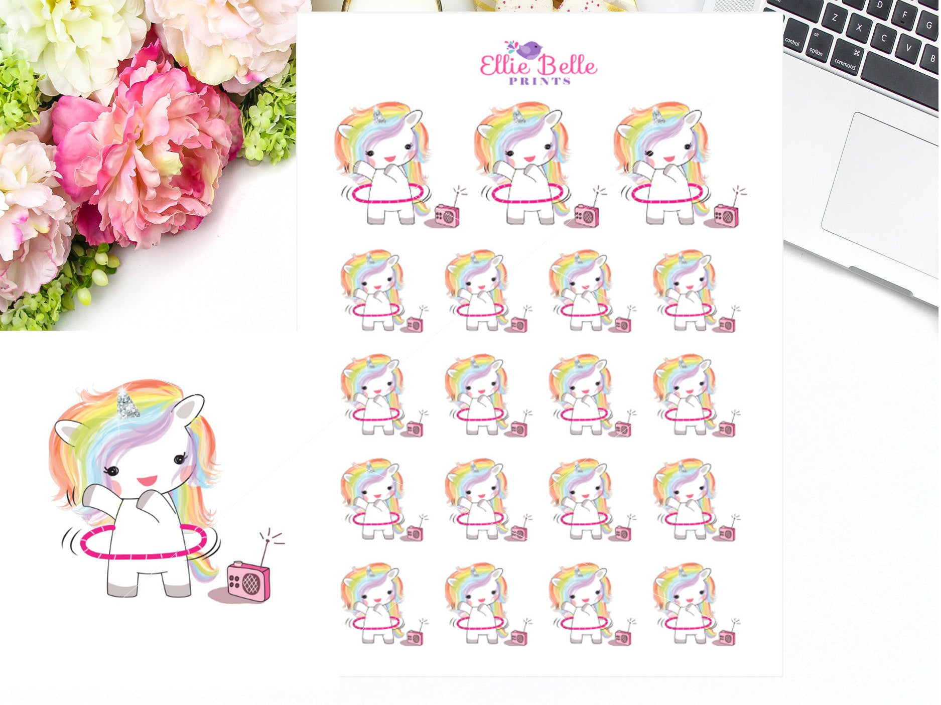 Hula Hoop Stickers - Rainbow Unicorn Collection