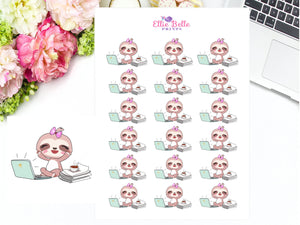 Computer Sloth Stickers - Sloth Collection 1
