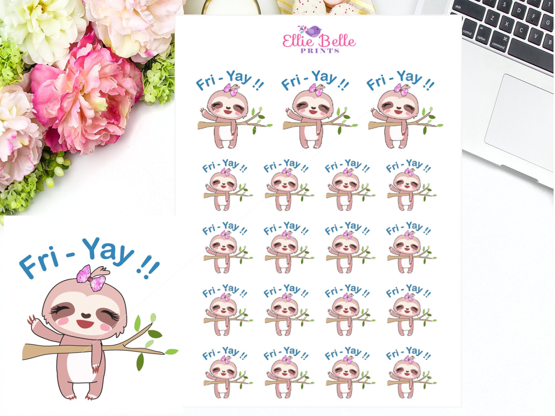 FRI-YAY Stickers - Sloth Collection 2