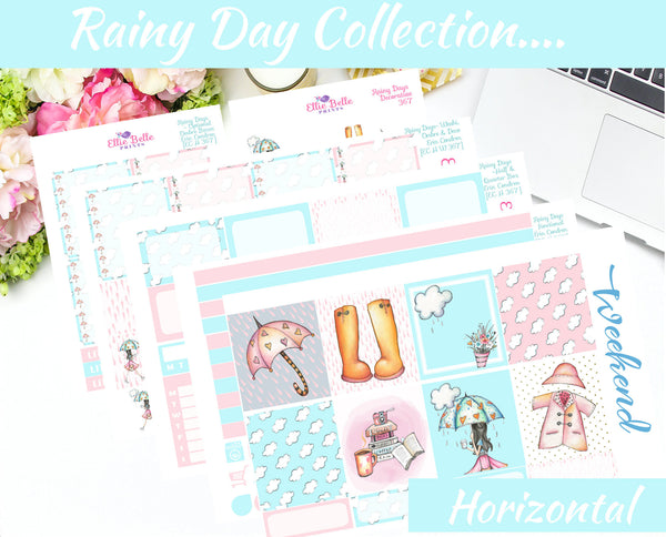 RAINY DAY COLLECTION - Horizontal Weekly Planner Kit [367]
