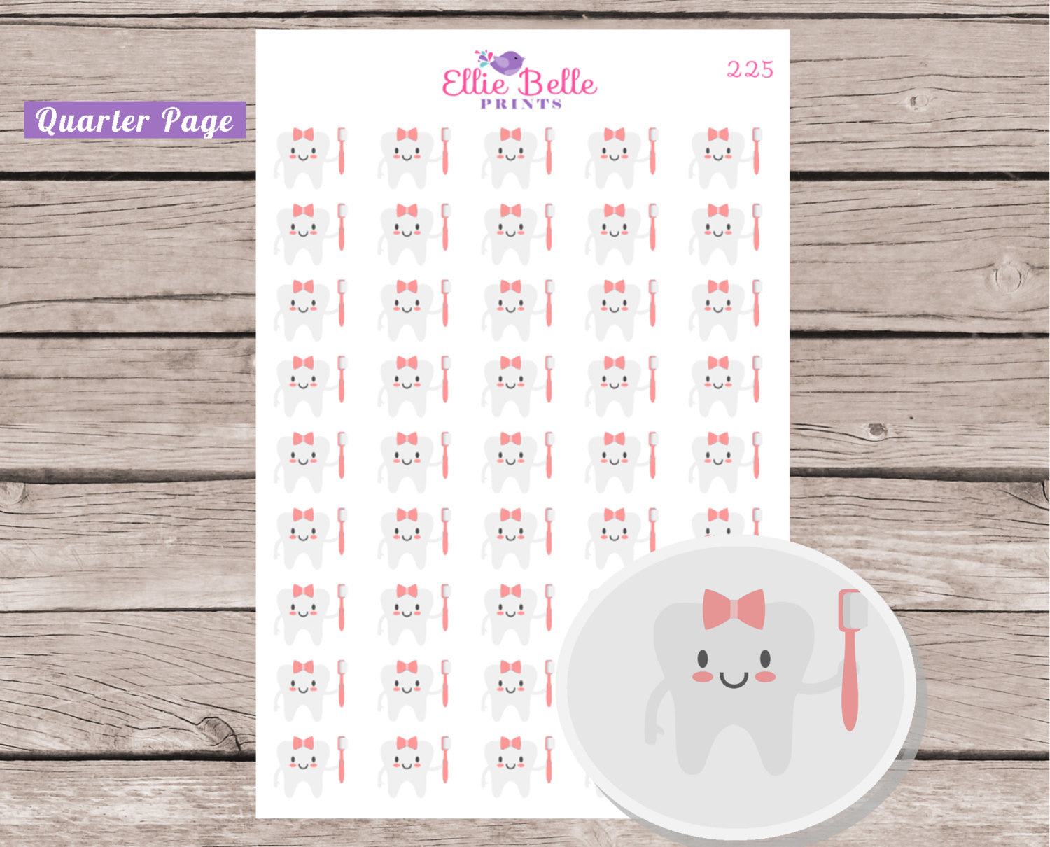 Girl Teeth Cleaning Sticker