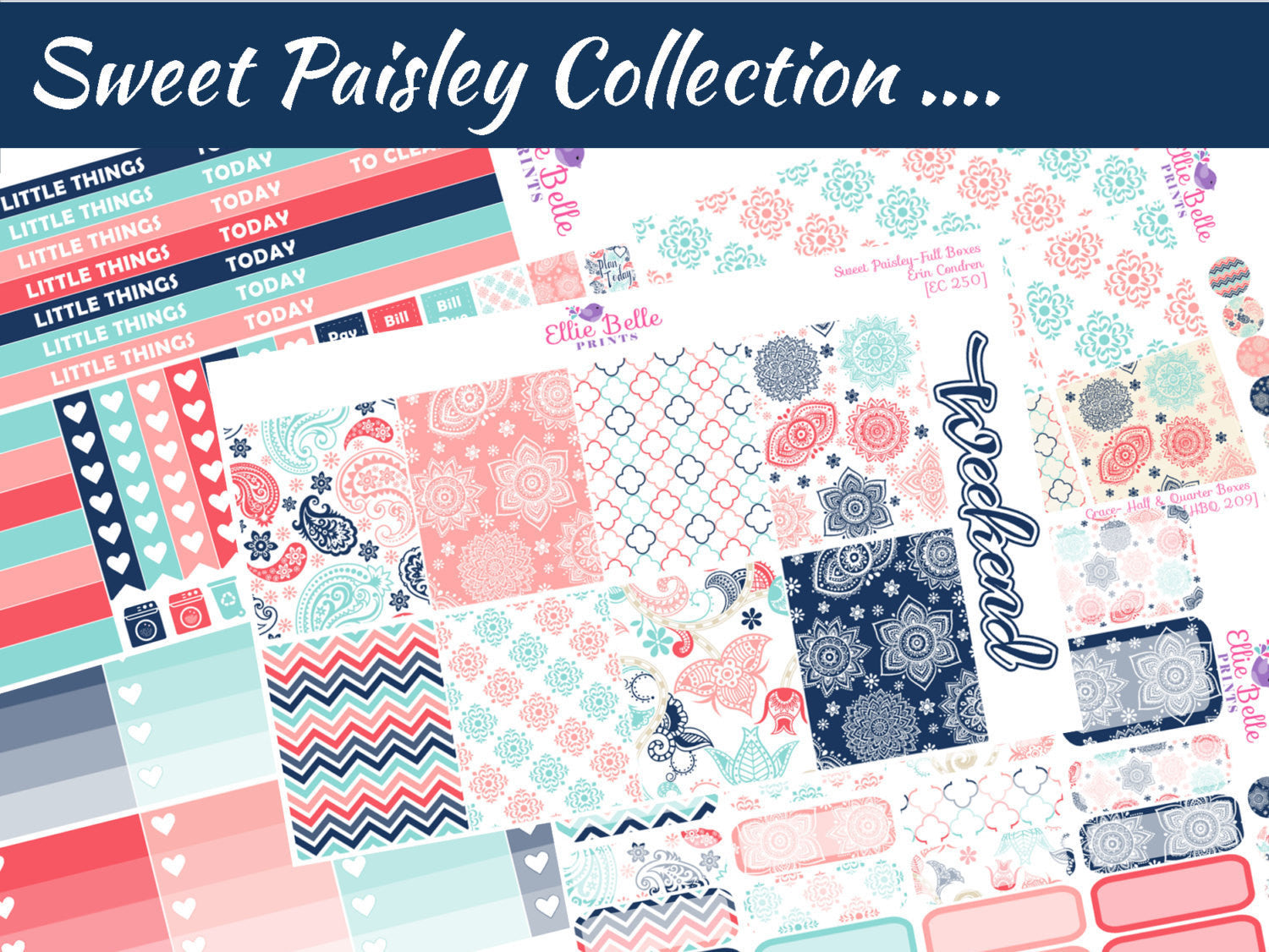 SWEET PAISLEY COLLECTION - Vertical Weekly Planner Kit [250]