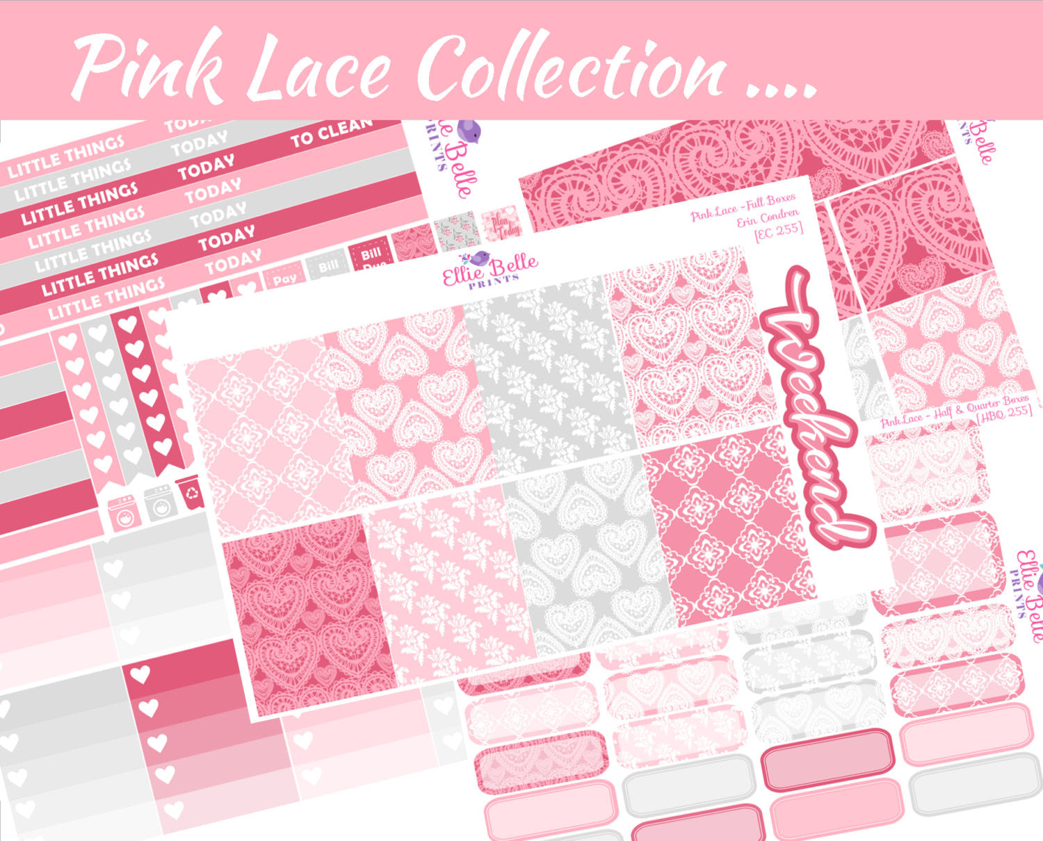 PINK LACE COLLECTION - Vertical Weekly Planner Kit [255]