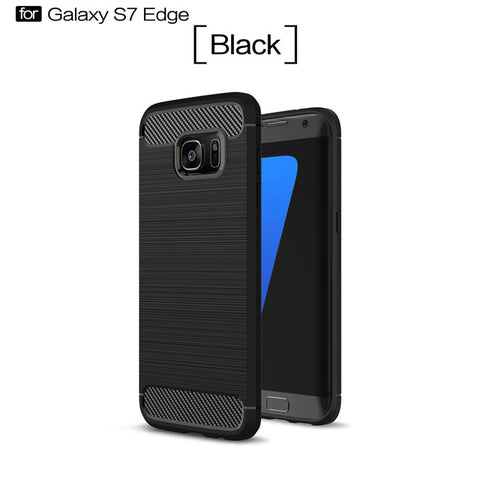 Shockproo Carbon Fiber Phone Case For Samsung Galaxy S6 S6 Edge S7 S7 Edge S8 S8 Plus