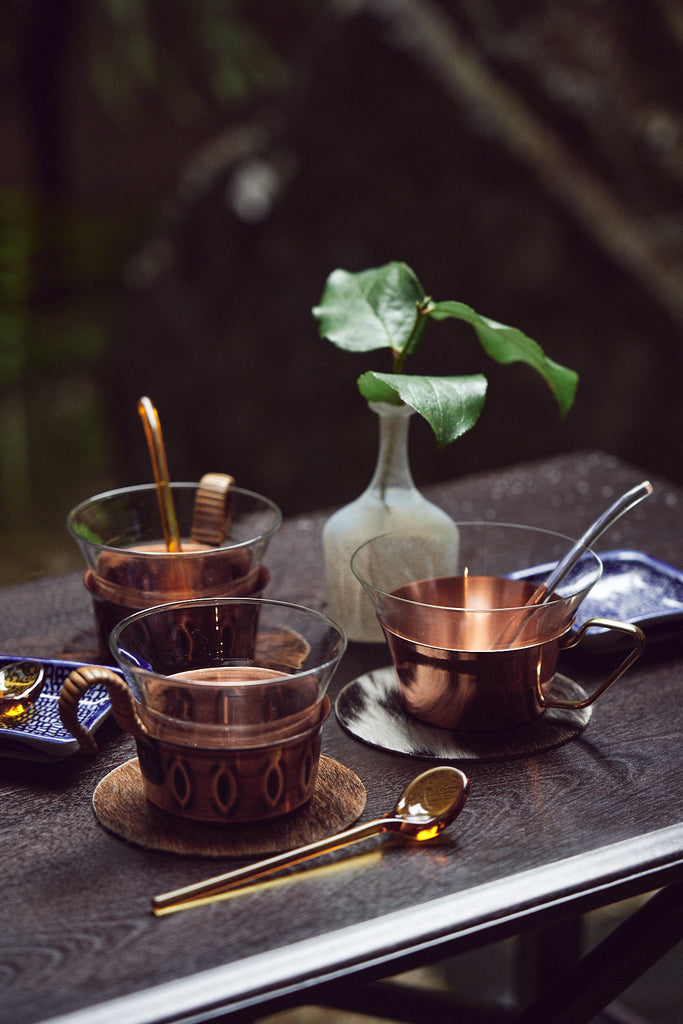 Vintage Copper Tea Glass with Rattan