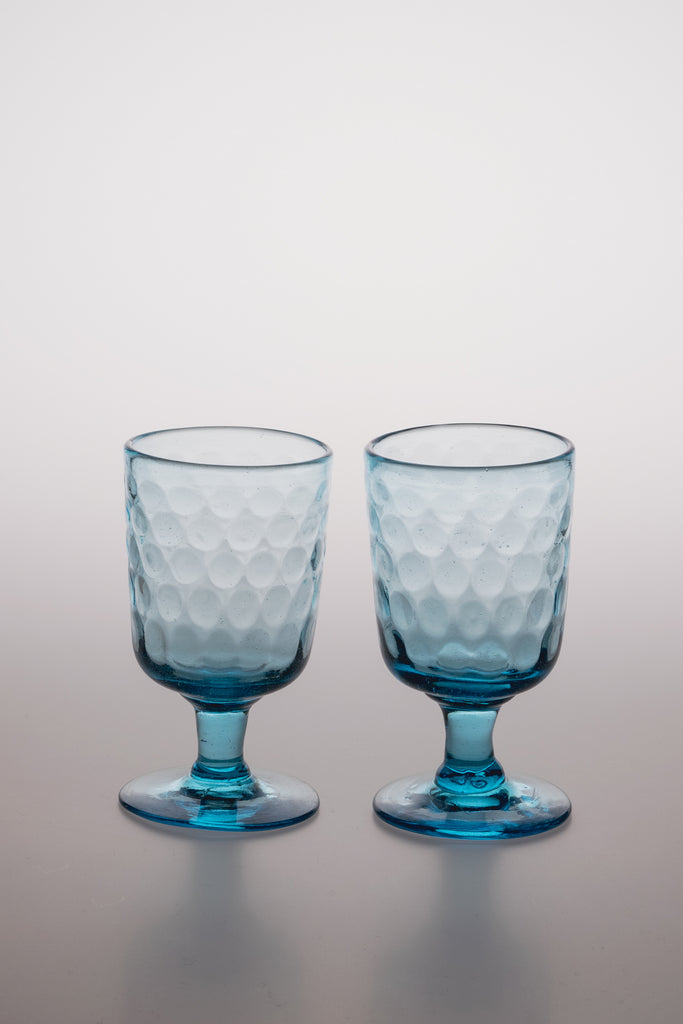 Vintage Blue Wine Glass Set of 2