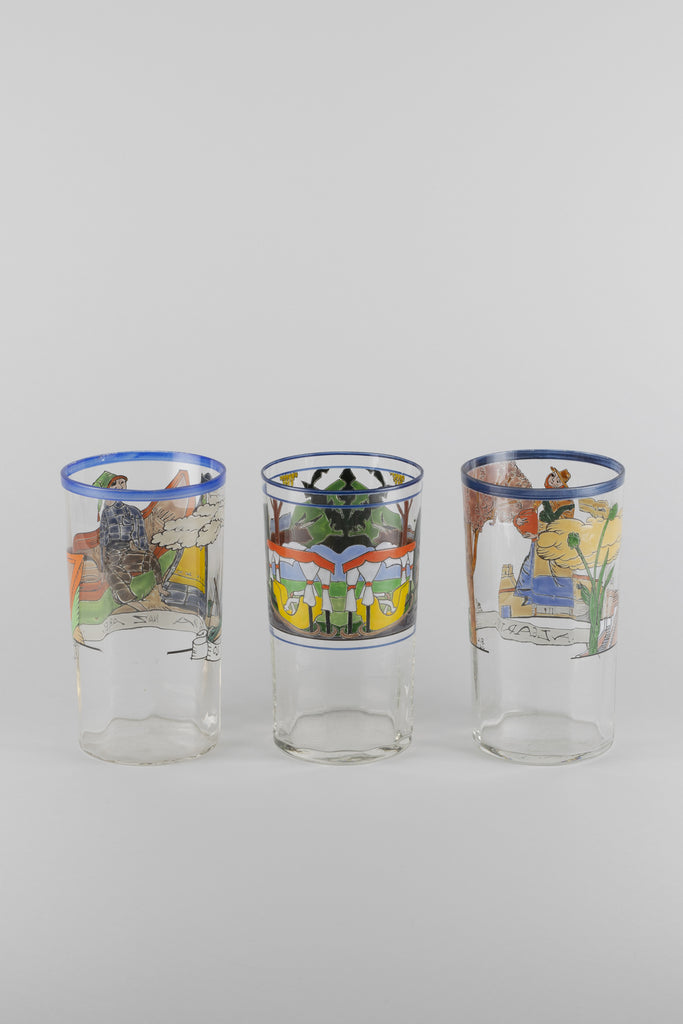 Hand Painted Glass Set of 3