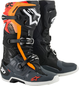 ALPINESTARS | TECH 10 BOOTS BLK/GRY/ORG/FLUO RED SZ 09 | 482-01709