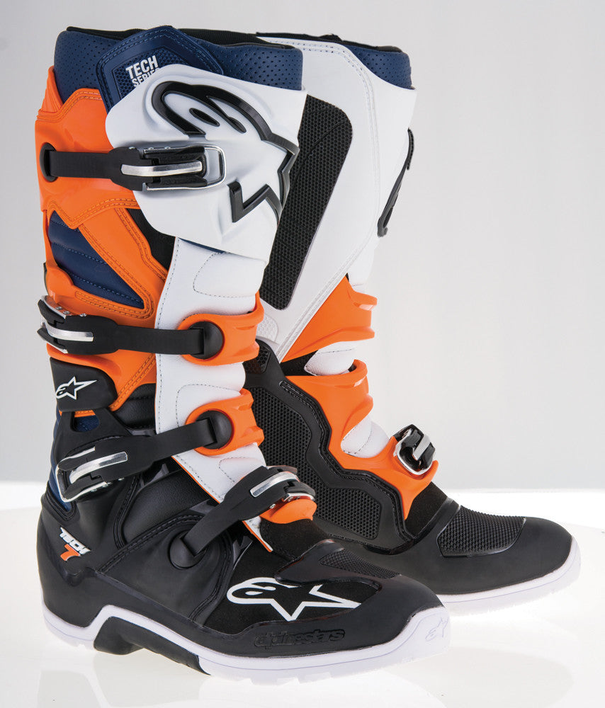 ALPINESTARS | TECH 7 ENDURO BOOTS BLACK/ORANGE/WHITE/BLUE SZ 12 | 482-28712