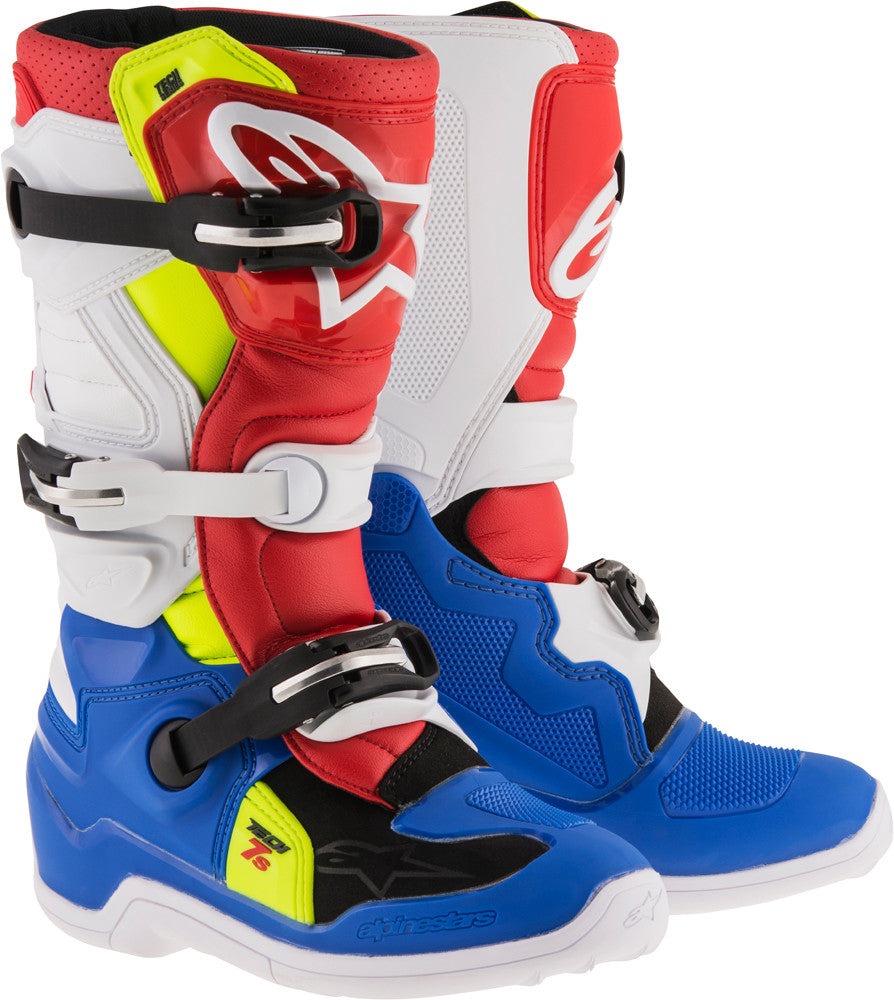 ALPINESTARS | TECH 7S BOOTS BLUE/WHITE/RED/YELLOW SZ 02 | 482-25302