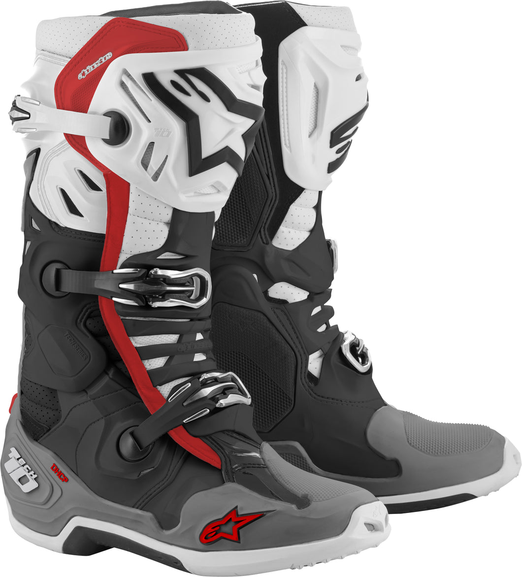 ALPINESTARS | TECH 10 SUPERVENTED BOOTS BLACK/WHITE/MID GREY/RED SZ 13 | 482-01513