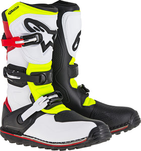 ALPINESTARS | TECH-T BOOTS WHITE/RED/YELLOW/BLACK SZ 13 | 482-43613
