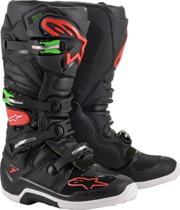 ALPINESTARS | TECH 7 BOOTS BLACK/RED/GREEN SZ 10 | 482-22210