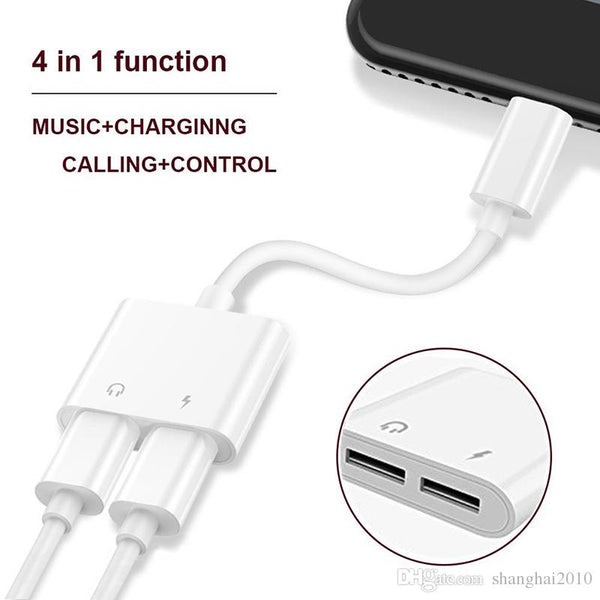2 in 1 Dual For Headphone Audio Charger Adapter Connectors Cable For cell phones 7 8 X Plus Charging Music 30pcs