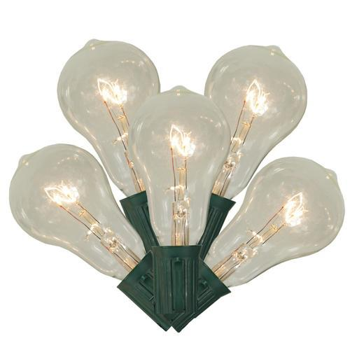 Set of 10 Transparent Clear PS50 Edison Style Christmas Lights - Green Wire