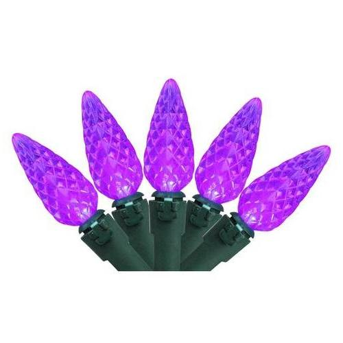 Set of 70 Purple LED C6 Christmas Lights - Green Wire